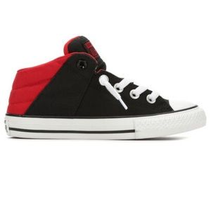 Converse CTAS Axel Black & Red Mid Tops Size 4